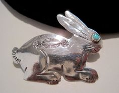 ADORABLE Vintage NAVAJO Turquoise & Silver HAND-CRAFTED Cottontail Rabbit…