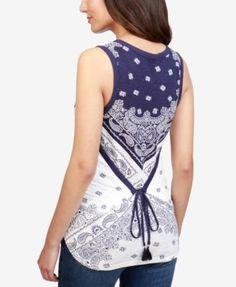Lucky Brand Printed Tassel-Back T-Shirt - Navy Multi XL