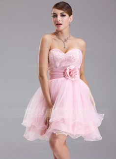 A-Line Princess Sweetheart Short Mini Taffeta Tulle Lace Homecoming Dress  With Ruffle Beading Flower(s) Sequins (022004343) ae452c74b