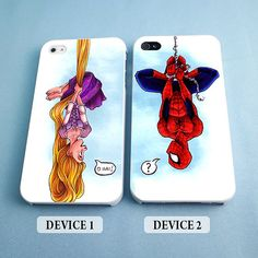 Couples Case Funny Rapunzel and Spiderman - Couples Phone Case - Rubber and Plastic Available iPhone 4/4S, 5/5S