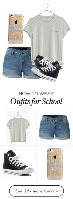 """""""3 more days of school"""" by melw44 on Polyvore featuring LE3NO, Madewell, Converse and Agent 18"""