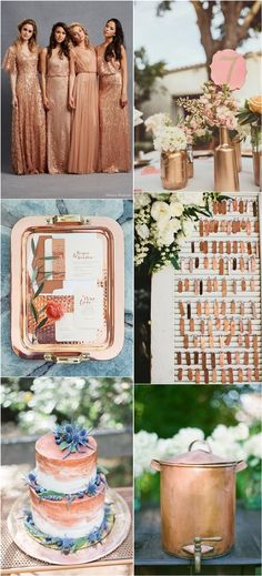 Vintage Copper Wedding Color Ideas / http://www.deerpearlflowers.com/bronze-copper-wedding-color-ideas/