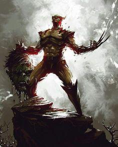 #Hulk #Fan #Art. (Wolverine take Hulk's Head!) By: Kalmahul. (THE * 3 * STÅR * ÅWARD OF: AW YEAH, IT'S MAJOR ÅWESOMENESS!!!™)[THANK Ü 4 PINNING!!!<·><]<©>ÅÅÅ+(OB4E)   https://s-media-cache-ak0.pinimg.com/564x/53/dd/da/53ddda5348598608bc0e6698b18d0a57.jpg