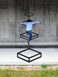 """Platforms"" by Aakash Nihalani, tape installation at the Parrish Art Museum"