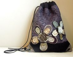 DRAWSTRING BACK PACK Cinch Sack - Recycled Bag - Upcycled Bag - Repurposed Fabrics - Bohemian - Shabby Chic - Appliqued - Eco Friendly