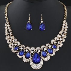 Jewelry Sets For Women Fine African Beads Gold Plated Bridal Crystal Pendants Necklace Earrings Set Wedding Jewelry Collier http://amzn.to/2svkI1s