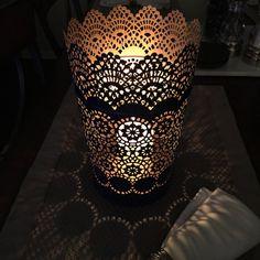 Metal lace candle lantern #lantern #lace #candleholder #centerpiece