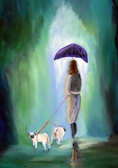 "Pug Dog Art/""Just Before The Rainbow""/by Original M. Holzer. $13.50, via Etsy."
