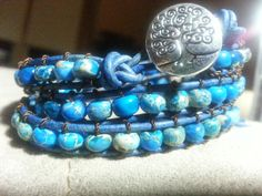 Handmade Adjustable Antiqued Blue Triple Leather Wrap Bracelet with Blue Dyed Dream Jasper Stone Beads and Tree of Life button