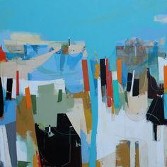 "Regatta by Andrew Bird   Acrylic on canvas   30"" x 30"" #andrewbird #tannerandlawson #cornwall #abstractart"