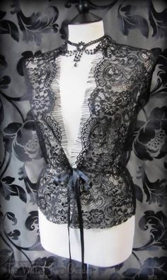 Elegant Gothic Black Lace Fringe Waistcoat Top 14 Victorian Romantic Vintage   THE WILTED ROSE GARDEN on eBay // Worldwide Shipping Available