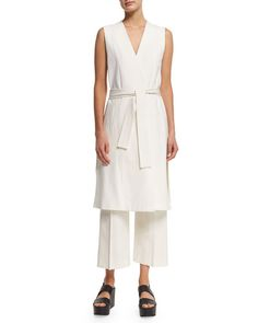 -6DMH Vince  Sleeveless Side-Slit Wrap Vest Tailored-Fit Pleated Culottes