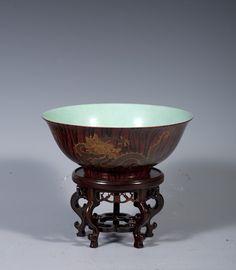 060、Qing Emperor Yongzheng wood grain dragon bowl - 清雍正仿木纹描金龙纹碗-2.jpg (1000×1146)