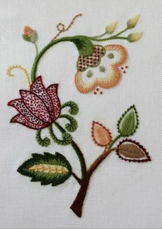 Traditional Flower Design from EAC ICC ( Basic Crewel Embroidery)Provided design done with my choice of colors and stitches.