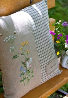 Wild Flowers - I could use this idea of a pillow for any embroidery I choose, as long as it fits.