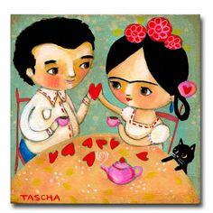 ORIGINAL acrylic painting FRIDA Kahlo and DIEGO Valentine love with black cat hearts by tascha