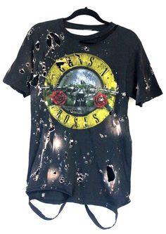 Guns N' Roses Distress Bleached Processed Handmade Rock and Roll Tops (Men & Women) - ONE LOVE Pasadena