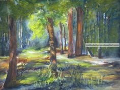 Original Watercolor Painting 22x30 American Forest by GreenDesertArt, $800.00