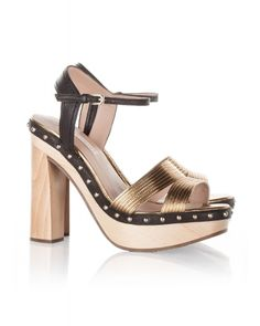 Wood platform sandals in gold and black leather