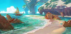 Arcmetto Shores by Tyler edlin. Environment Painting, Environment Concept Art, Environment Design, Game Environment, Fantasy World, Fantasy Art, Landscape Illustration, Illustration Art, Tama