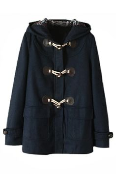 ROMWE | Toggle Front Hooded Blue Woolen Coat, The Latest Street Fashion