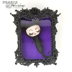 """Luna"" Black Cat Doll Sculpture in Framed Box Art Sculpture Art, Sculptures, Ghost Cat, Doll Painting, Cat Doll, Black Glitter, Box Art, Jewelry Art, Hand Painted"