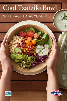 Major meal inspo with this Mediterranean-style bowl topped with a creamy tzatziki sauce. Greek Recipes, Veggie Recipes, Whole Food Recipes, Salad Recipes, Vegetarian Recipes, Cooking Recipes, Healthy Recipes, Soup Recipes, Mediterranean Diet Recipes