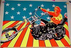 vintage Large SUPER CYCLE Peter Fonda Blacklight POSTER
