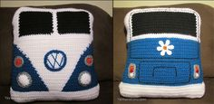 VW Van Pillow - Free Crochet Pattern Love VW Van's? Here's our fun interpretation on the vehicle. We picked some of our favorite shapes for the lights and turn signals, etc. This crochet pattern is...