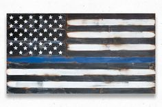 Thin Blue Line Wood Flag Thin Blue Line Flag US by PatriotWood