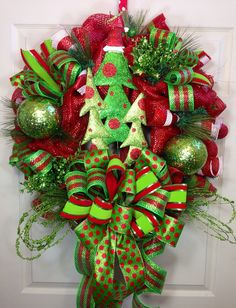 Christmas Mesh Wreath by WilliamsFloral on Etsy, $119.00