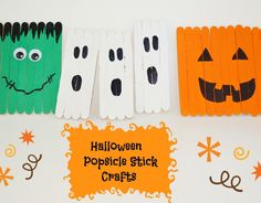 Kids Halloween Popsicle Stick Craft - Ghost Pumpkins and more!