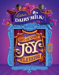 Cadbury Dairy Milk Joy Elevator von Dennis Fuentes, via Behance – the dongix – Willkommen bei Pin World Cool Typography, Typographic Design, Bg Design, Game Design, Creative Advertising, Advertising Design, Typography Inspiration, Graphic Design Inspiration, Banners