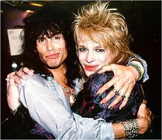 Mike Monroe of Hanoi Rocks and Steven Tyler of Aerosmith