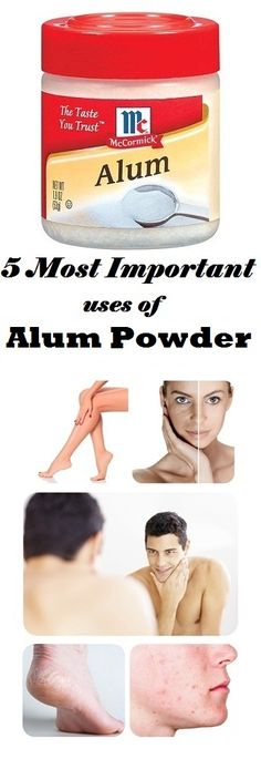 5 Most Important uses of Alum Powder: Cracked Heels Remedy Skin whitening Pimples and scars Aftershave for Mens Permanently Hair Removal Health And Beauty Tips, Health Tips, Health And Wellness, Beauty Care, Beauty Skin, Beauty Secrets, Beauty Hacks, Beauty 101, Beauty Recipe