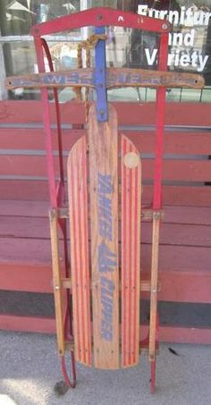 VINTAGE 1970'S YANKEE CLIPPER FLEXIBLE FLYER WOODEN METAL SNOW SLED TOY #2