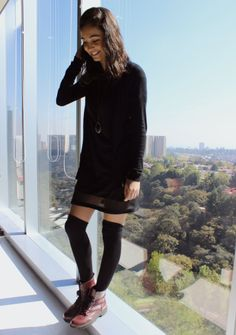 Love this outfit! Black socks with combat boots. #Black #stockings #combatboots / My first Pin #lol <3