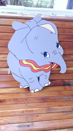19 Wooden Handpainted Dumbo Wall Hanging by Pamelaswoodcrafts, $30.00