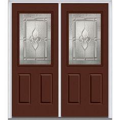 Milliken Millwork 66 in. x 81.75 in. Master Nouveau Decorative Glass 1/2 Lite 2 Panel Painted Fiberglass Smooth Exterior Double Door,