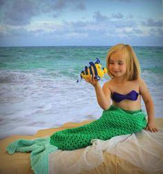 Petite sirène Ariel Toddler set / / sirène crocheter ensemble pour les petites filles / / comprend une poupée de son flet, le coquillage dessus et sirène fin