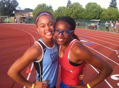 Hannah and her competitor Mikela take a snapshot showing true sportsmanship.