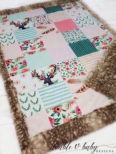 Boho Fawn Baby Blanket Floral Deer Minky Blanket - Adaline Baby Name - Ideas of Adaline Baby Name - Boho Fawn Baby Blanket Floral Deer Minky Blanket Easy Baby Blanket, Minky Baby Blanket, Baby Girl Blankets, Quilted Baby Blanket, Deer Nursery, Girl Nursery, Girl Room, Nursery Ideas, Room Ideas