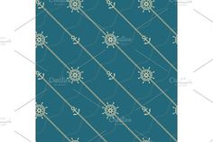 Anchor, wheel and chain. Seamless marine  pattern.. Patterns. $5.00