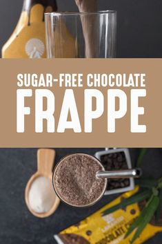 Make your favorite coffee shop drink at home with this chocolate frappe recipe. Best of all there's no sugar or dairy and it's low-carb! Chocolate Frappe Recipe, Chocolate Syrup, Chocolate Coffee, Choco Chips, Dairy Free Chocolate, Dessert Recipes, Desserts, Low Sugar, Coffee Recipes