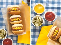 mini hot dogs on blue gingham #camillestyles