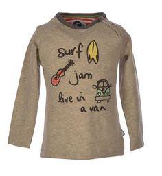 Flo baby t-shirt, model Flem, met een printje aan de voorzijde. Deze longsleeve heeft een ronde hals - Grijs melee - NummerZestien.eu