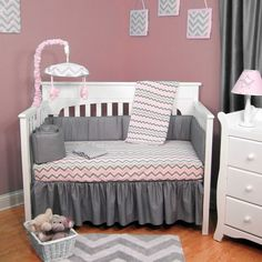 ABC Pink/Grey Cotton Chevron 5-piece Baby Crib Bedding Set With Bumper