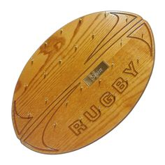 Handmade Rugby Ball Medal Display with 25 medal hooks. The Rugby Ball display comes with 25 gold hooks and a matching nameplate in a gold finish. Rugby, Sports Medals, Medal Holders, Oak Stain, Paper Crafts, Woodworking, Hooks, Display Ideas, Emerald