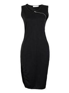 Black bodycon zip dress