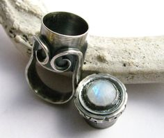 Rainbow Moonstone Poison Ring Sterling Silver Treasure Box Ring  Gemstone Secret Compartment Metalsmith Ring Size 7 Metalwork Jewelry